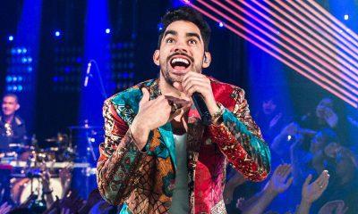 Gabriel Diniz canta em gravação do programa 'SóTocaTop', da TV Globo, no Rio de Janeiro, em julho de 2018 — Foto: Fábio Rocha/TV Globo