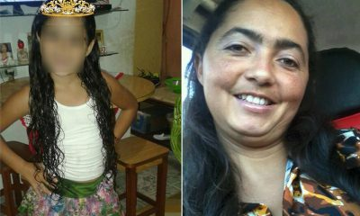 Luziane de Jesus Silva, de 38 anos, e Mirella Silva Andrade, de 9, foram agredidas em São Vicente, SP — Foto: Reprodução