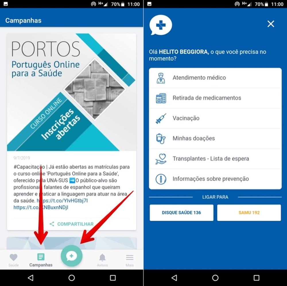 Visualizando campanhas do Ministério da Saúde no app — Foto: Reprodução/Helito Beggiora