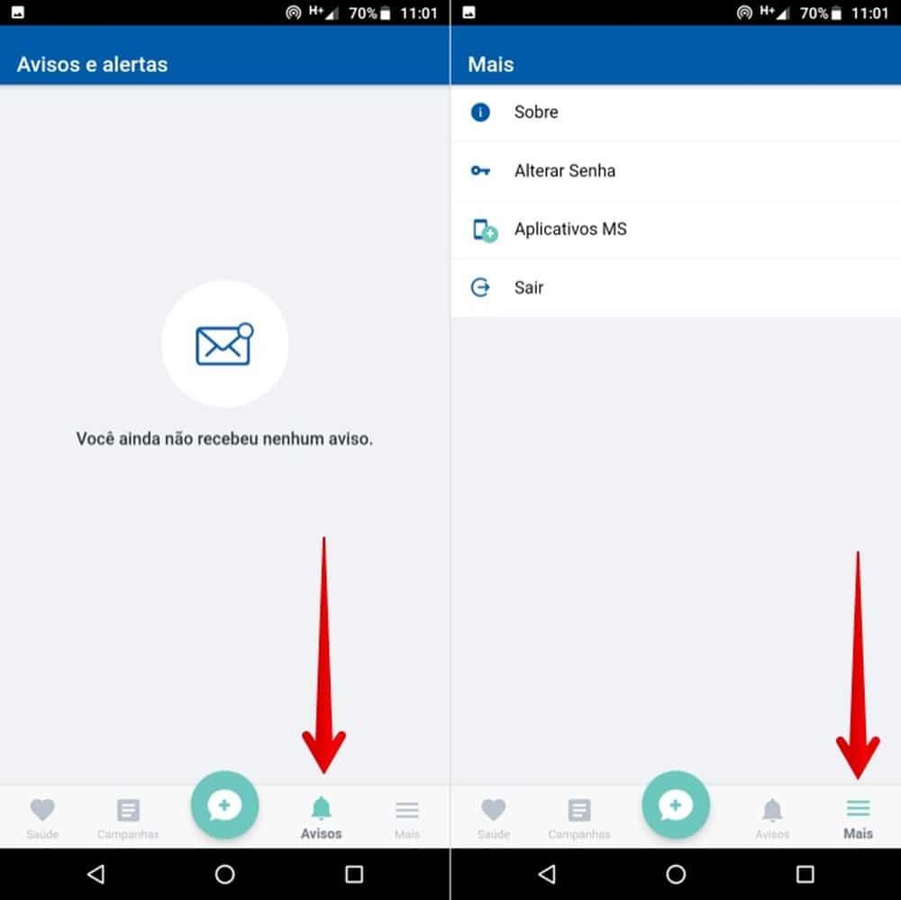 Acessando notificações e configurações do app — Foto: Reprodução/Helito Beggiora