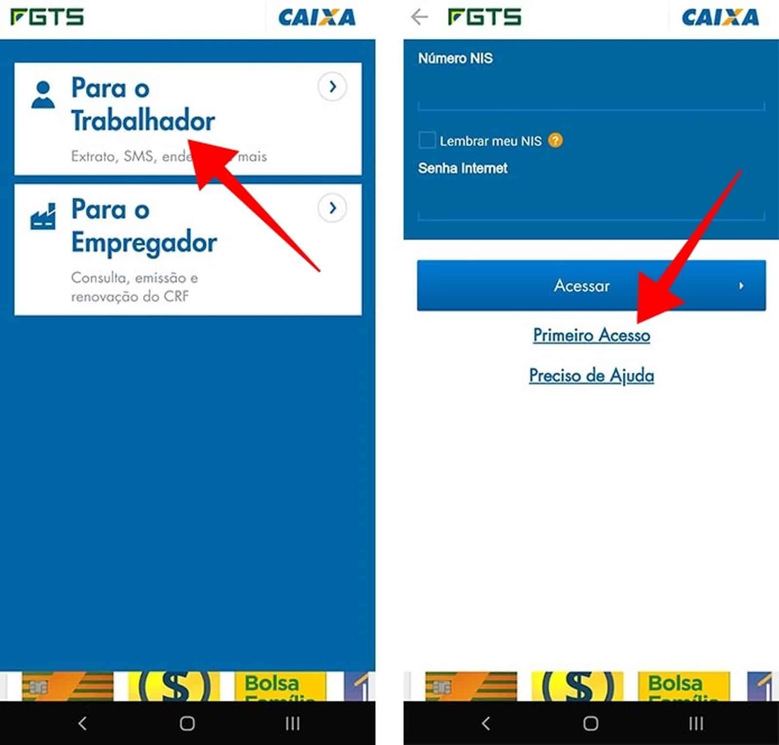 Acesse o modo Trabalhador e crie uma conta no app FGTS 2019 — Foto: Reprodução/Paulo Alves