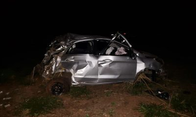 Suspeito de roubo morreu em capotamento, em Rancharia — Foto: Paulo Sérgio Santana/Cedida