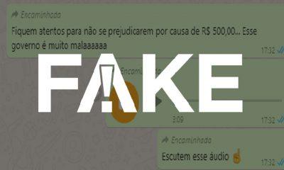 É #FAKE que ao sacar até R$ 500 do FGTS trabalhador perde acesso ao saque-rescisão — Foto: Reprodução