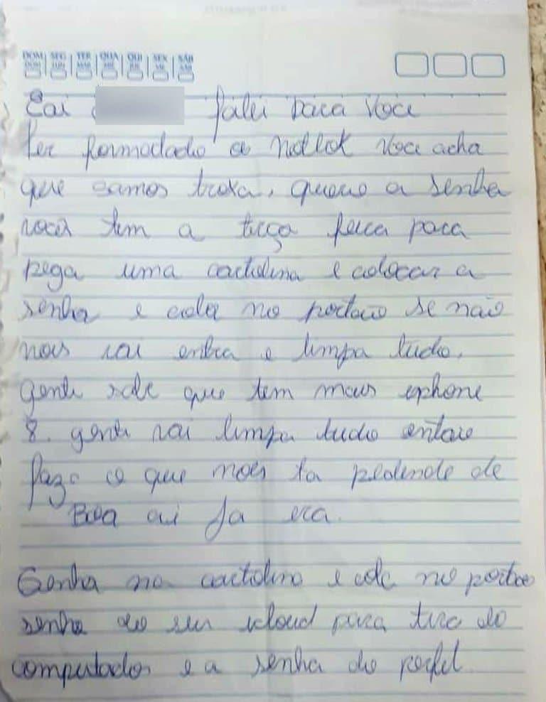 Ladrão manda bilhete exigindo senha de computador roubado (Foto: Divulgação / Polícia Civil)