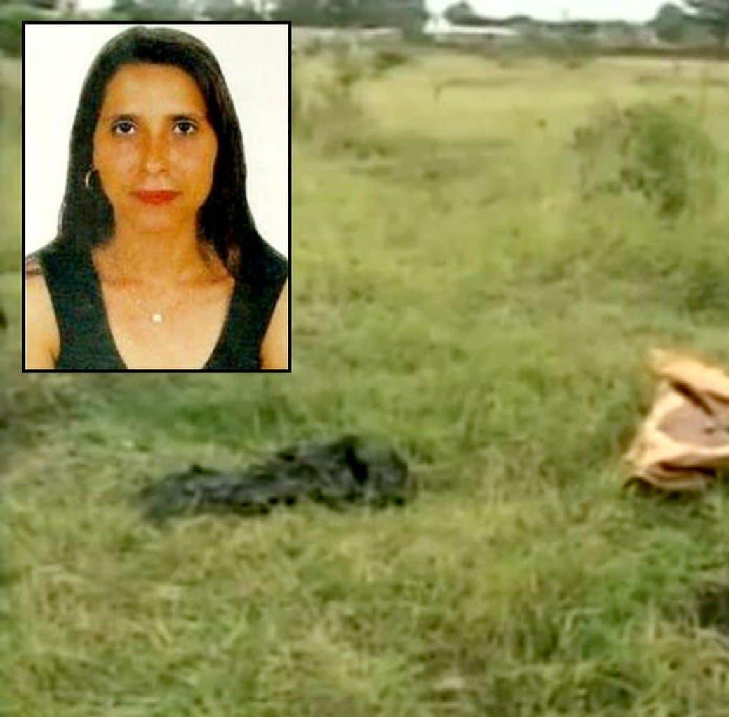 O corpo da cozinheira Silvia Cassiano (no detalhe) foi esquartejado e os pedaços espalhados em vários locais; ela estava grávida e feto foi achado ao lado do corpo (Foto: TV TEM/Reprodução/Arquivo)