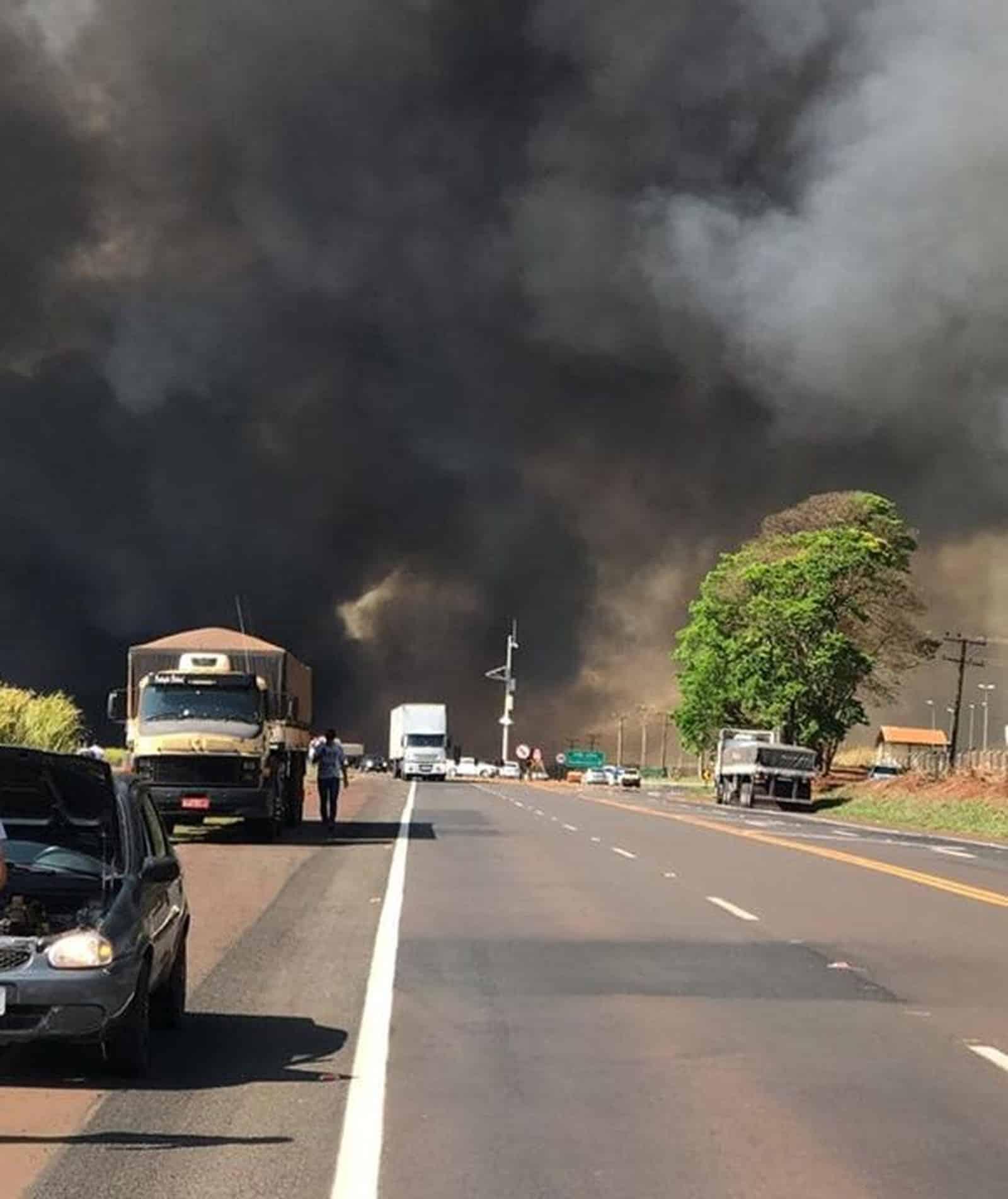 Fumaça alta e intensa atrapalhou o trânsito na rodovia em Florínea (Foto: Gazeta Regional/ Divulgação)