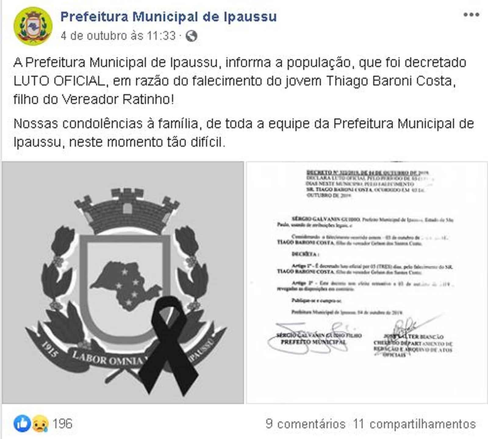 Prefeitura decretou luto oficial após a morte do adolescente; exame apontou que ele morreu em decorrência da febre maculosa em Ipaussu — Foto: Facebook/ reprodução