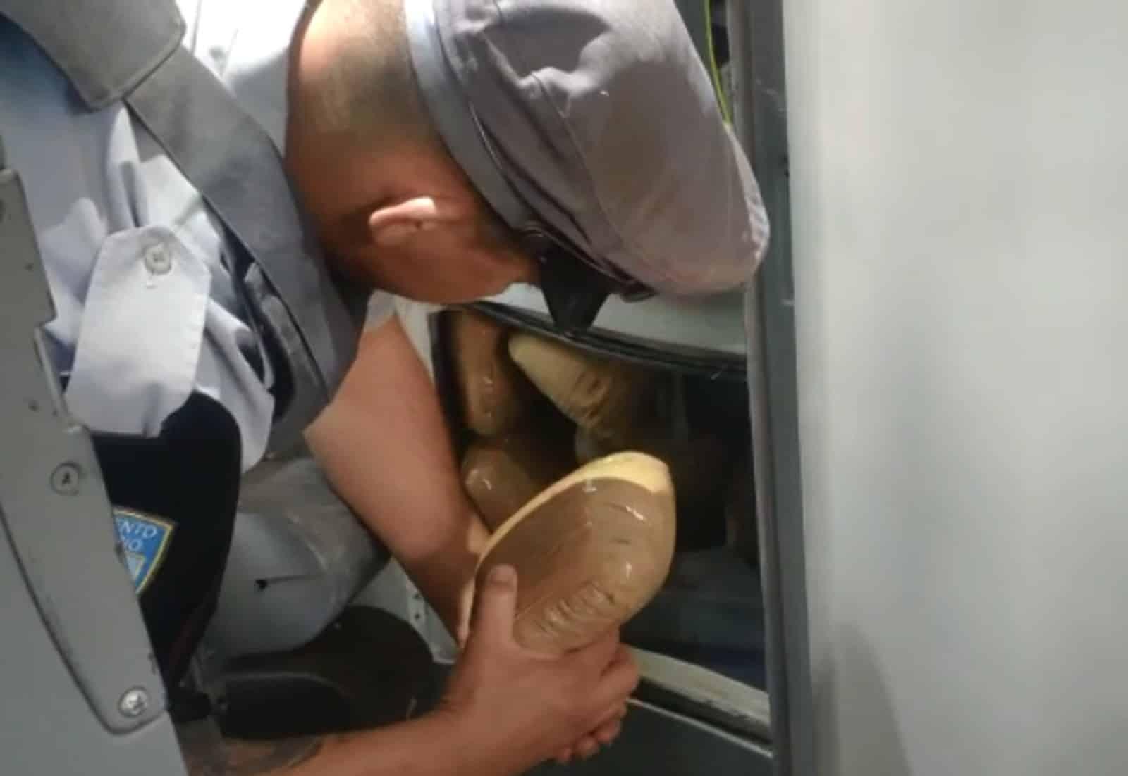 Droga estava escondida em um compartimento sob a pia, no banheiro do ônibus em rodovia de Assis — Foto: Polícia Militar Rodoviária/Divulgação