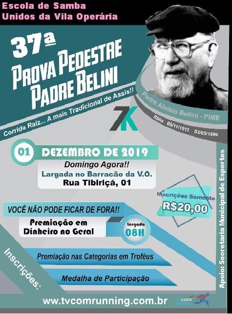 37ª Prova Pedestre 'Padre Beline' será domingo, com largada às 8h
