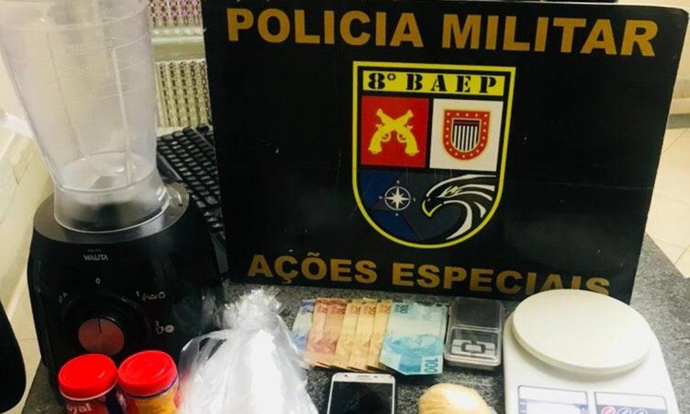 Homem é preso suspeito de vender cocaína com fermento em pó em Assis — Foto: Polícia Militar/Divulgação