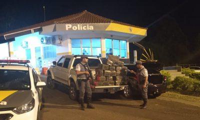 Dupla é presa com 22 fardos de maconha em rodovia de Tarumã — Foto: Polícia Rodoviária Federal/Divulgação