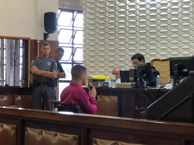 Bruno Miziara Abreu foi ouvido na quinta-feira (28) no Fórum de Bauru — Foto: Giuliano Tamura/TV TEM