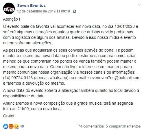 Nota da Seven que comunicava a suposta mudança do evento (Foto: Reprodução/Facebook)