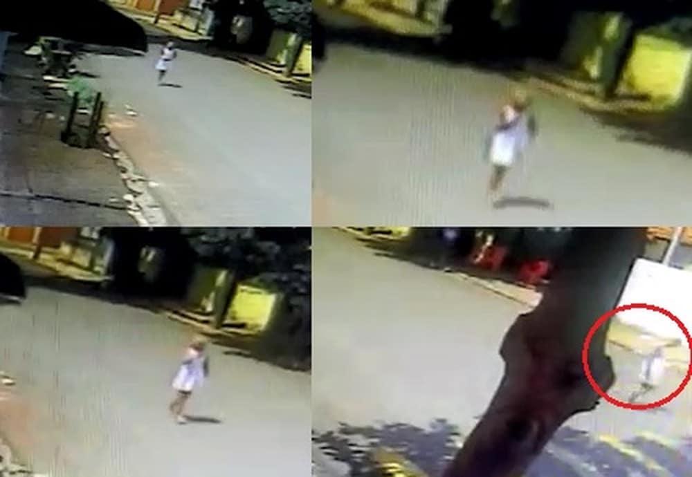 Novas imagens mostram menina a caminho de praça momentos antes de desaparecer no interior de SP — Foto: Divulgação/Câmeras de Segurança
