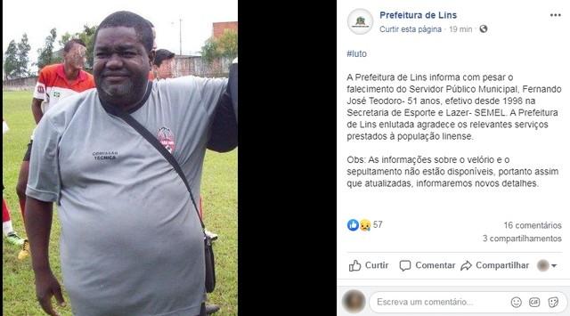 Servidor público de Lins é encontrado morto em estrada vicinal — Foto: Facebook/Reprodução