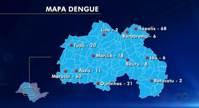 Confira casos registrados de dengue até o momento no Centro-Oeste Paulista — Foto: Reprodução/TV TEM