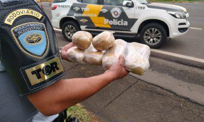 Dez pacotes de haxixe foram apreendidos durante a fiscalização em Santa Cruz do Rio Pardo — Foto: Polícia Rodoviária / Divulgação