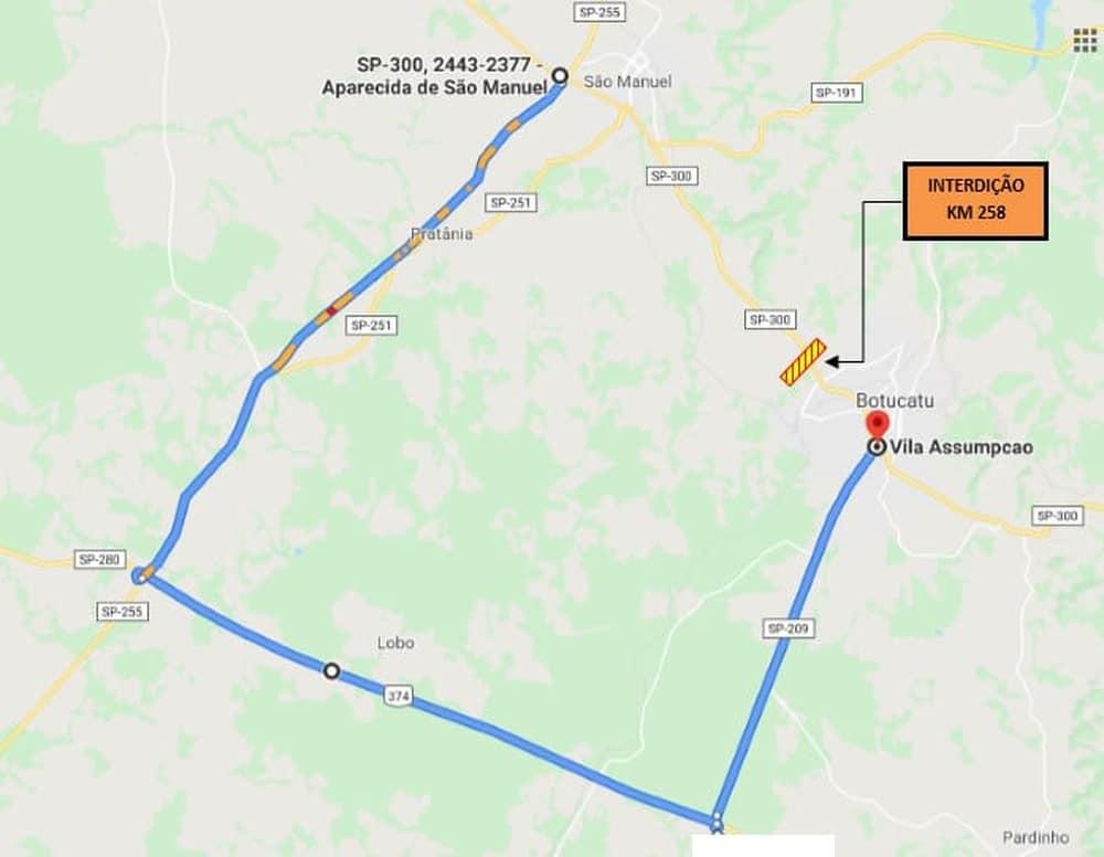 Mapa da rota alternativa à interdição total do km 258 da Marechal Rondon em Botucatu — Foto: Rodovias do Tietê/ Divulgação