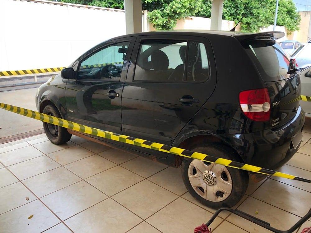 Veículo do aposentado foi localizado em Iepê (SP) — Foto: Mateus Tarifa/TV Fronteira