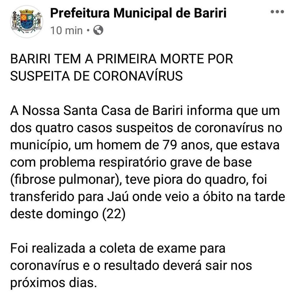 Prefeitura de Bariri anunciou uma morte suspeita de coronavírus no município neste domingo (22) — Foto: Reprodução/Facebook