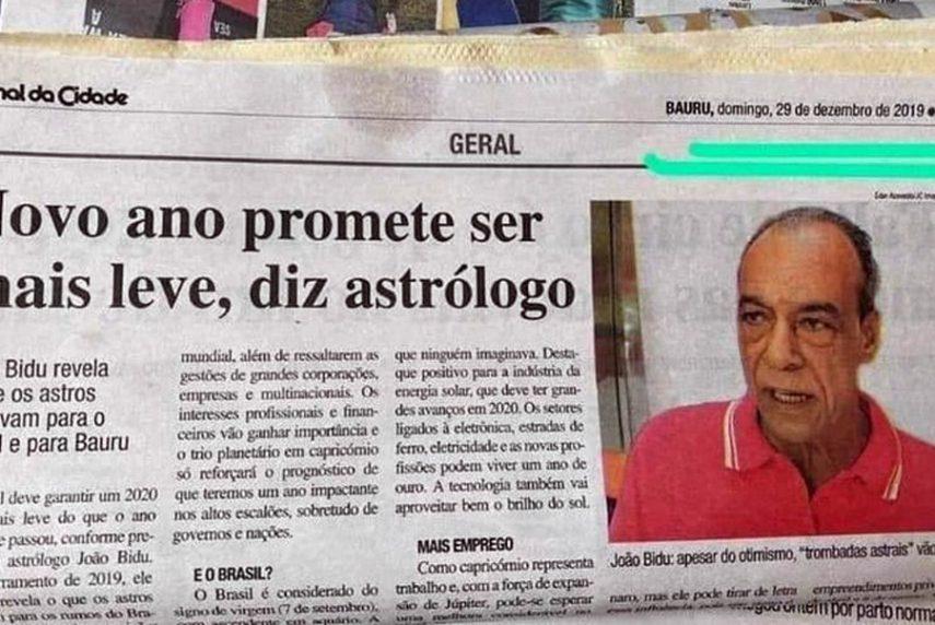 Reportagem com previsão furada do astrólogo João Bidu viralizou na internet — Foto: Reprodução