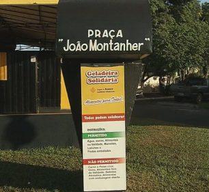 """Moradores de Palmital abastecem """"geladeira solidária"""" para ajudar população durante crise — Foto: TV TEM/Reprodução"""