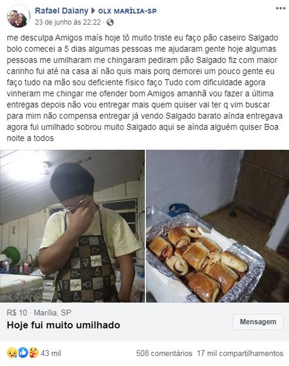 Comerciante de Marília desabafa na web humilhação por cliente — Foto: Reprodução/Facebook