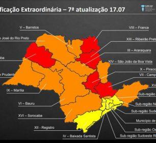 Atualização das regiões no Plano São Paulo nesta sexta-feira (17). (Foto: Divulgação/Governo do Estado de São Paulo)