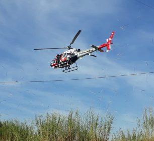 Helicóptero Águia durante um atendimento a ocorrência em junho de 2020 em Presidente Prudente — Foto: Polícia Militar