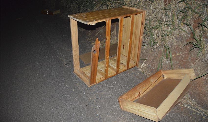O armário e a bicicleta caíram de uma carretinha que seguia logo à frente dos veículos do casal (Foto: Reprodução/i7 Notícias)