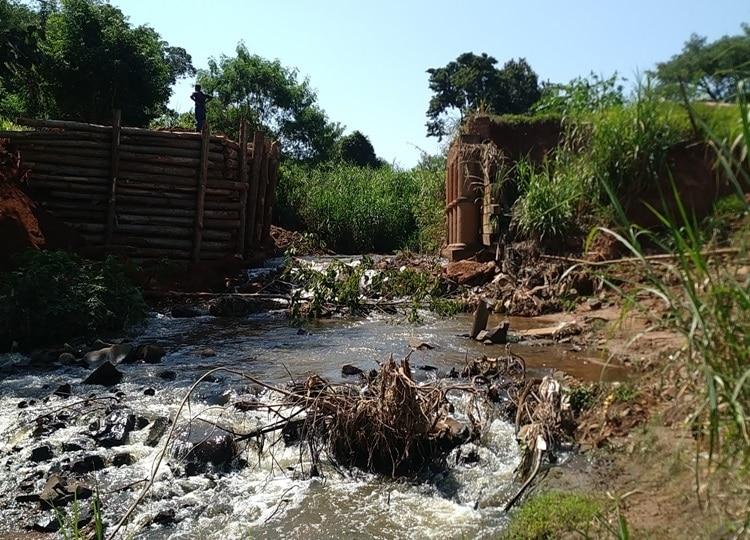 Prefeitura inicia obras de reconstrução da Ponte que liga os bairros rurais Agua da Fortuna e Lagarto Verde (Foto: Departamento de Comunicação)