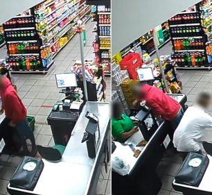 Polícia apreende adolescentes suspeitos de roubar mercado com faca em Cândido Mota — Foto: Câmera de segurança/Reprodução