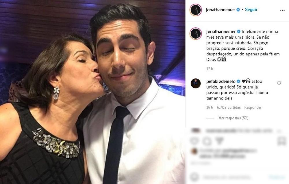 Humorista pediu orações pela mãe internada com Covid em Marília — Foto: Instagram/Reprodução