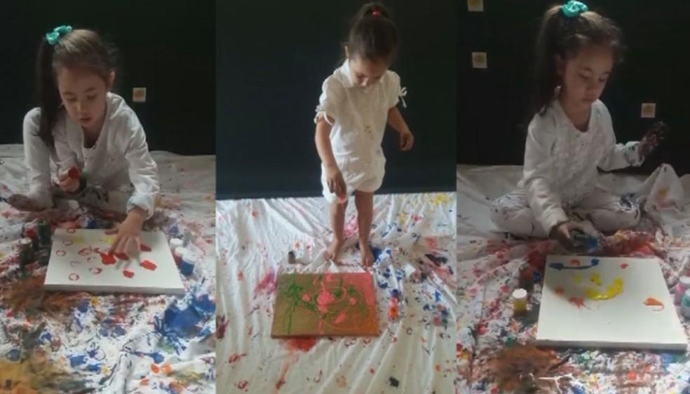 Pais passaram a divulgar as fotos da pequena artista na internet e as imagens viralizaram — Foto: Arquivo pessoal