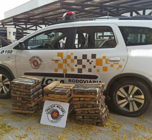 Os 137 tabletes de maconha estavam no fundo falso de uma camionete abordada em Paraguaçu Paulista — Foto: Polícia Rodoviária /Divulgação